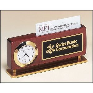 Rosewood Piano Finish Clock With Business Card Holder 2 3/8 x 5 7/8