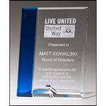 Custom Clear Glass Award with Sapphire Blue Highlight and Silver Plated Post 6x8