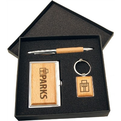 Pecks graphics promotional products provider harrisburg pa wood pen keychain and business card holder gift set in black presentation box colourmoves
