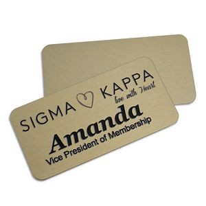 "Magnetic Name Badges- 1.5"" X 3"" (Gold Metal)"