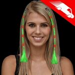 Custom LED Braided Hair Extensions Green