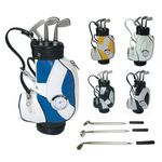 Custom Desktop Golf Bag Holder with Clock & Metal Club Pens