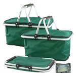 Custom Green Collapsible Picnic Insulated Cooler with Aluminum Frame Handles Shopping Baskets