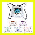 Custom Clear Stadium Cinch PVC Rally School Drawstring Vinyl Backpack Bag