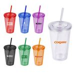 Custom 16 Oz. Double Wall Acrylic Tumbler w/Straw