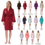 Custom Women's Silky Matte Satin Knee-Length Kimono Robe
