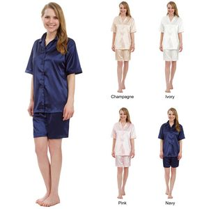 Custom Women's Short Stretch Silky Satin Pajama Sets, Sleepwear, Lounge Wear