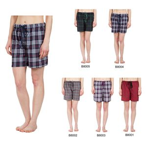 Custom Women's Classic Plaid Pajama Boxer Shorts, Sleepwear
