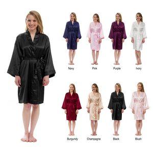 Custom Women's Solid Silky Robe Knee-Length Satin Kimono Robe