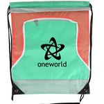 Custom Front Zipper Tri Color Drawstring Bag
