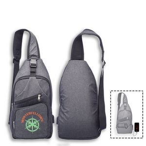 Crossbody Sling Traveler Backpack w/USB Port