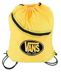Nylon Drawstring Bag w/ Front Zipper Pocket