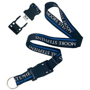"3/4"" Dye-Sublimated Detachable Lanyard w/USB Flash Drive"