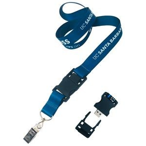 "Nylon Detachable 3/4"" Lanyard w/USB Flash Drive"