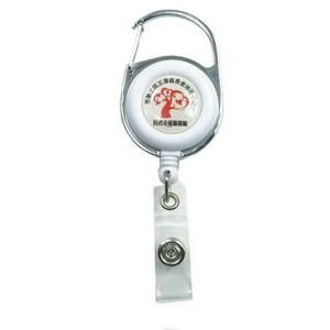 White Retractable Carabiner Badge Reel