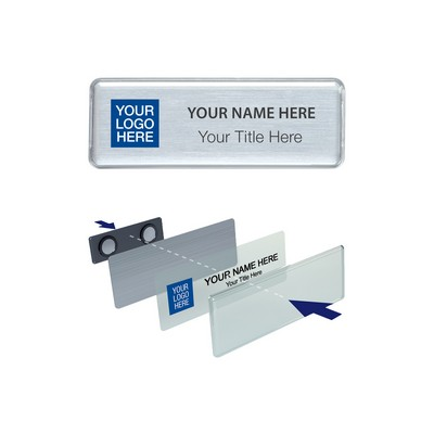 "The Mighty Badge 1"" x 3"" Namebadge System - White, Silver or Gold - Pin Fastener"