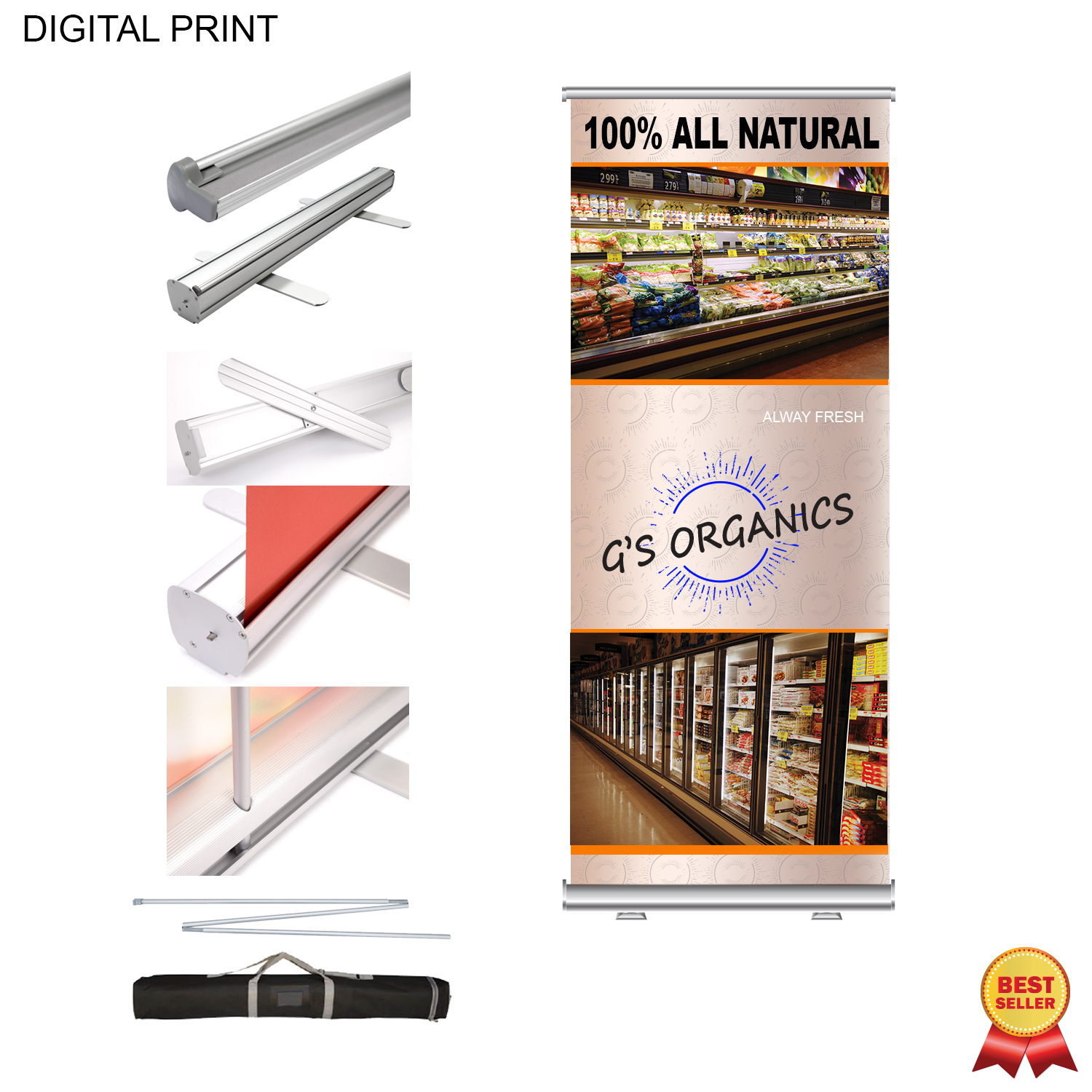 Premium Banner with Stand and Bag, 33.5x79, #DP583, Full Colour Imprint