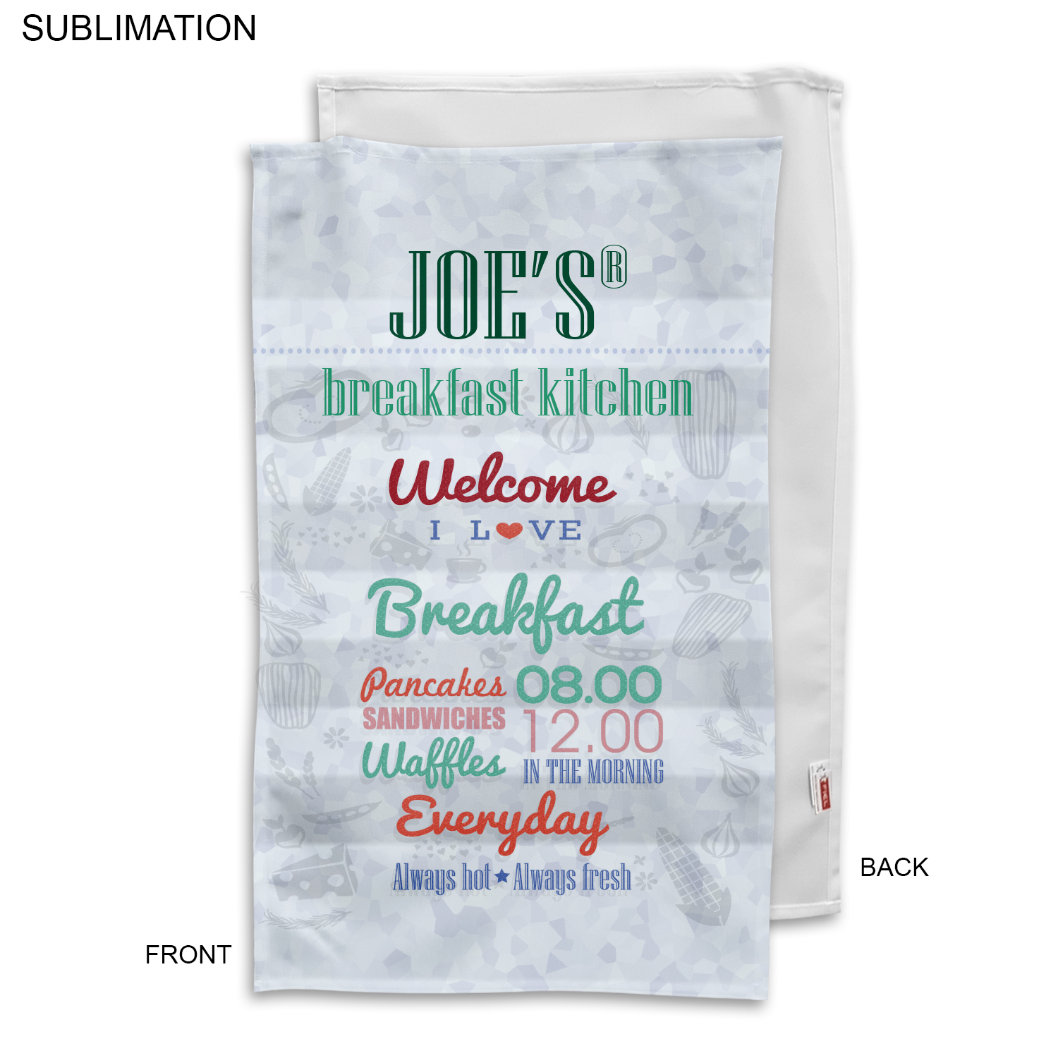 Polyester Tea Towel, 17X30, #SU186-3, Full Colour Imprint