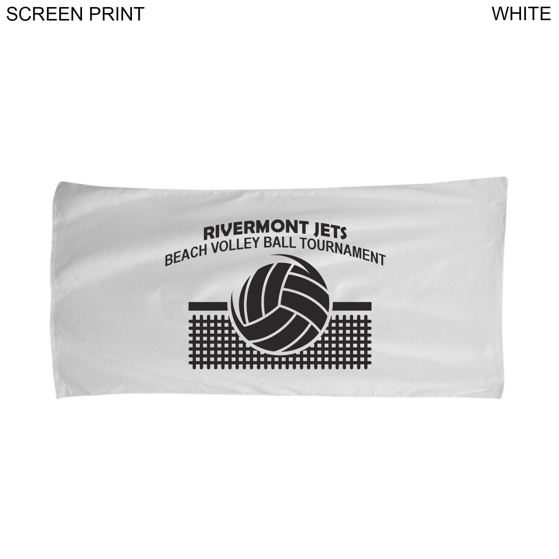 Terry Over Sized White Beach Towel, 34x70, #PR522, 1 Colour Imprint