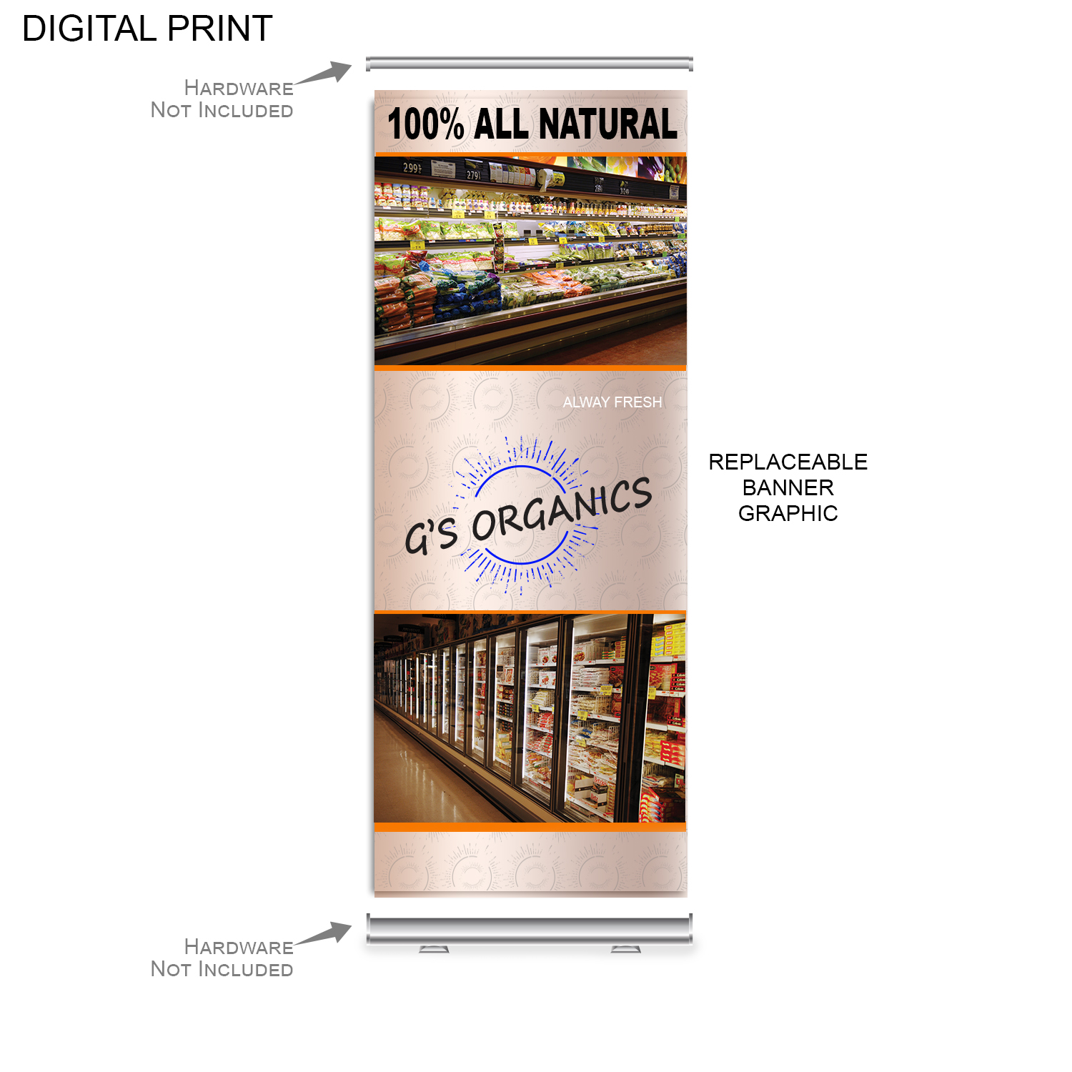 Replacement Graphics for Retractable Banner, 33.5x79, #DP619, Full Colour Imprint