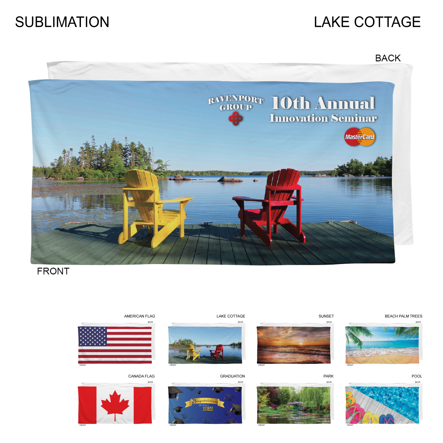 Stock Design By The Lake Beach Towel, 30x60, #SU586-6, Full Colour Imprint