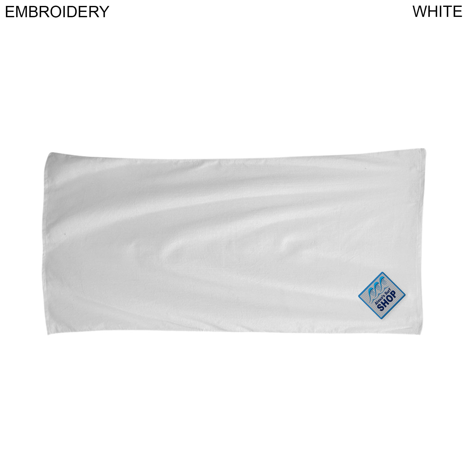 Terry Over Sized White Beach Towel, 34x70, #EM522, Embroidered
