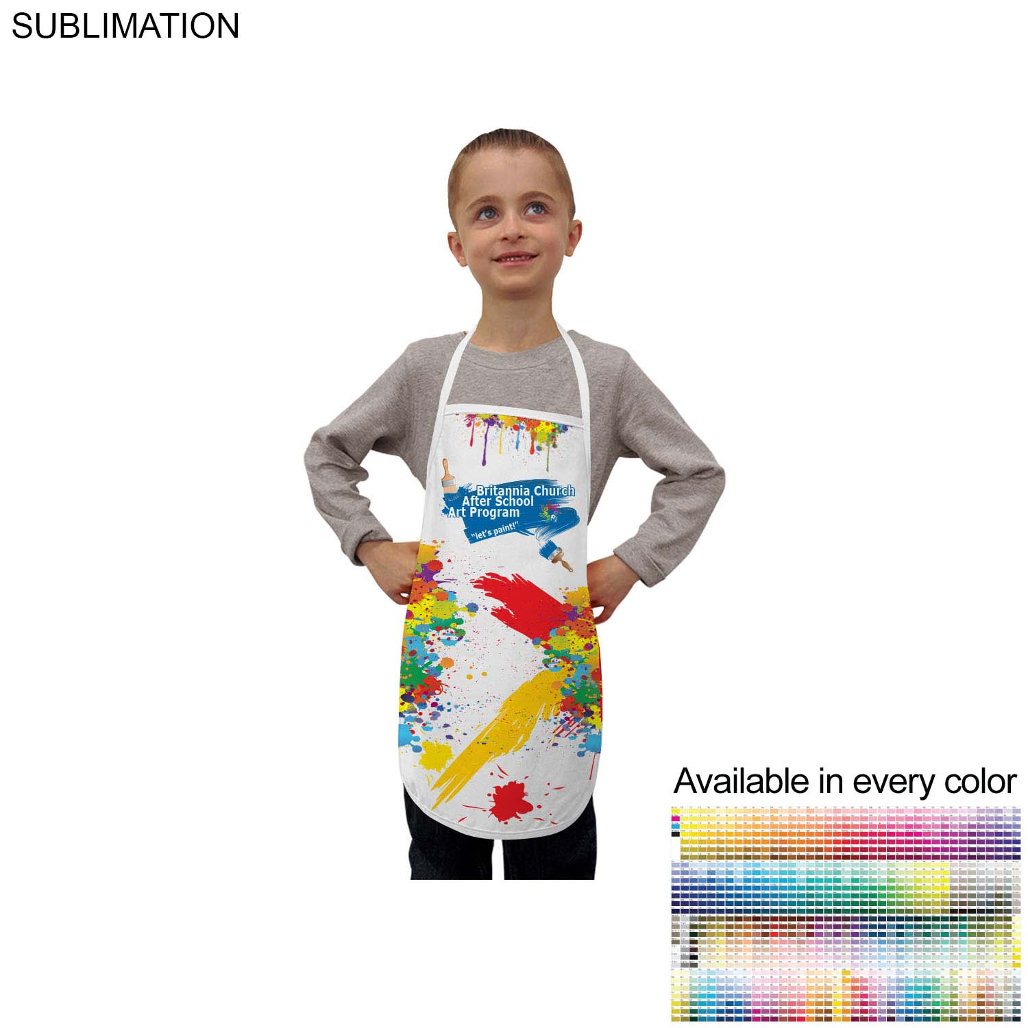 Kids Twill Bib Apron, 4 to 9 Years, #SU328, Full Colour Imprint