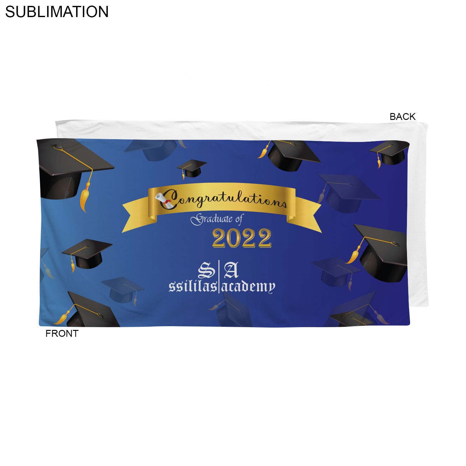 Stock Design Graduation Beach Towel, 30x60, #SU586-12, Full Colour Imprint