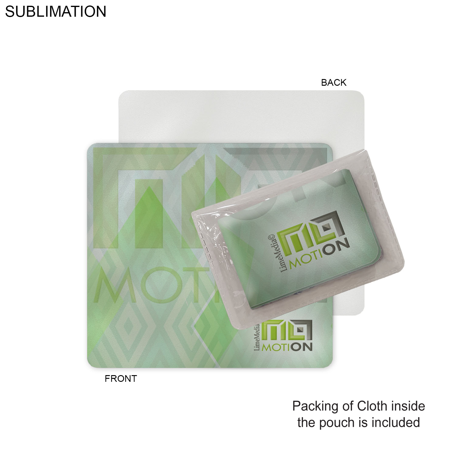 Sublimated 7.25x6.5 Cleaning Cloth with Vinyl Pouch, #SU550-2, Full Colour Imprint