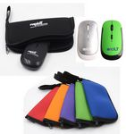 Custom Portable gift set 2.4G wireless mouse and zipped mouse pad
