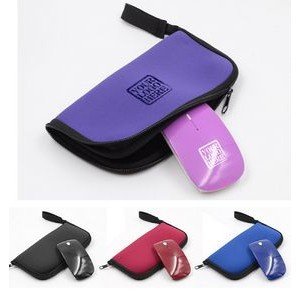 Portable computer accessories 2.4G folding wireless mouse and zipped mouse pad