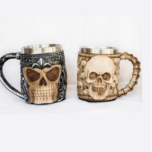 Stainless Steel Ram Horned Viking Pirate Gothic Skull Mug