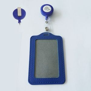 ID Badge Retractable Reel Belt Clip Fake Leather Card Holder