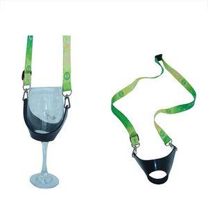 Custom PVC Wine Glass Holder Adjustable Lanyard Necklace Hand Free