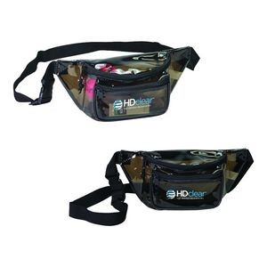 Black Vinyl Transparent 3-Zipper Fanny Pack
