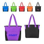 Custom Poly Color Block Zipper Tote Bag