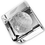 Custom Standing Crystal Cube w/ 3-D Globe