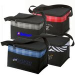 Custom Poly 6 Can Zebra Plaid Fashion Cooler Lunch Bag