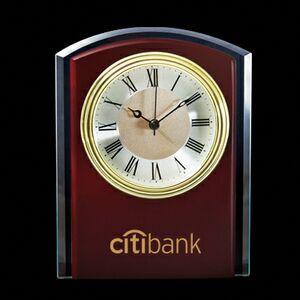 Wood Clock w/ Glass Trim