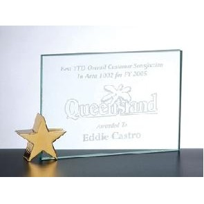 "Jade Glass Achievement Award with Brass Star Holder (8""x6"")"