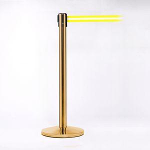 Crowd Control Polished Brass Pole W/ 11 Heavy Duty Yellow Belt W/ Lock