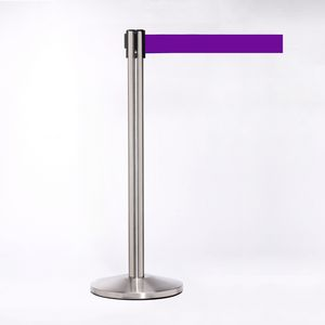 Matte Stainless Pole W/ 11 Heavy Duty Purple Belt W/ Lock - Pack of 2