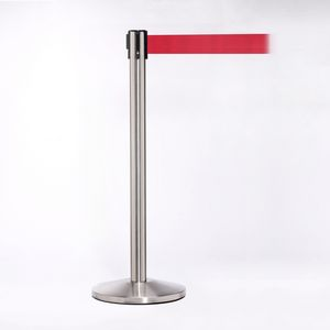 Matte Stainless Pole W/ 11 Heavy Duty Red Belt W/ Lock - Pack of 2