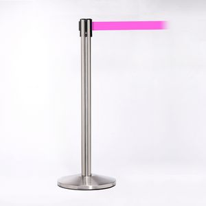 Matte Stainless Pole W/ 11 Heavy Duty Fluorescent Pink Belt W/ Lock - Pack of 2