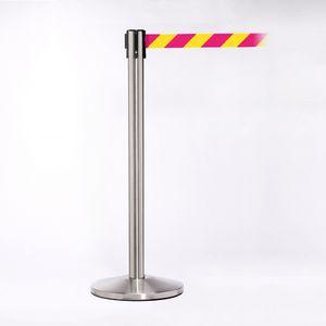 Stainless Pole W/ 11 Heavy Duty Diagonally Stripe Yellow/Magenta Belt W/ Lock