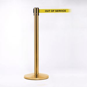 Crowd Control Brass Pole W/ 11 Heavy Duty Belt W/ Out of Service Message