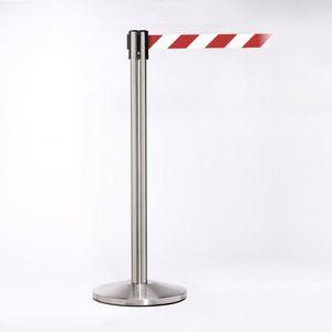 Matte Stainless Pole W/ 11 Heavy Duty Diagonally Stripe Red/White Belt