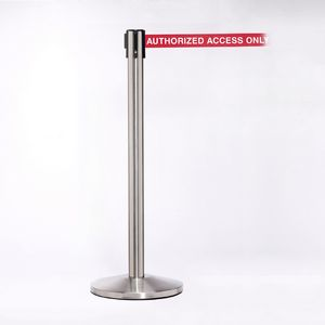 Stainless Pole W/ 11 Heavy Duty Belt Authorized Access Only Message