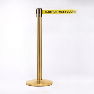 Crowd Control Brass Pole 11 & Belt W/ Caution Wet Floor Yellow/Black Pack of 2