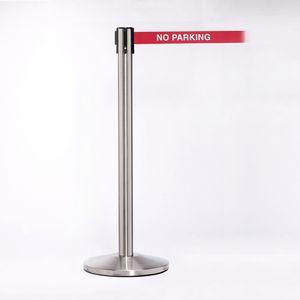 Stainless Pole W/ 11 Heavy Duty Belt/Lock W/ No Parking Message
